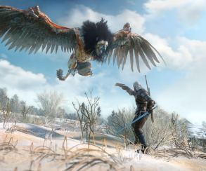 Геральт отбивается от грифона на кадрах из The Witcher 3