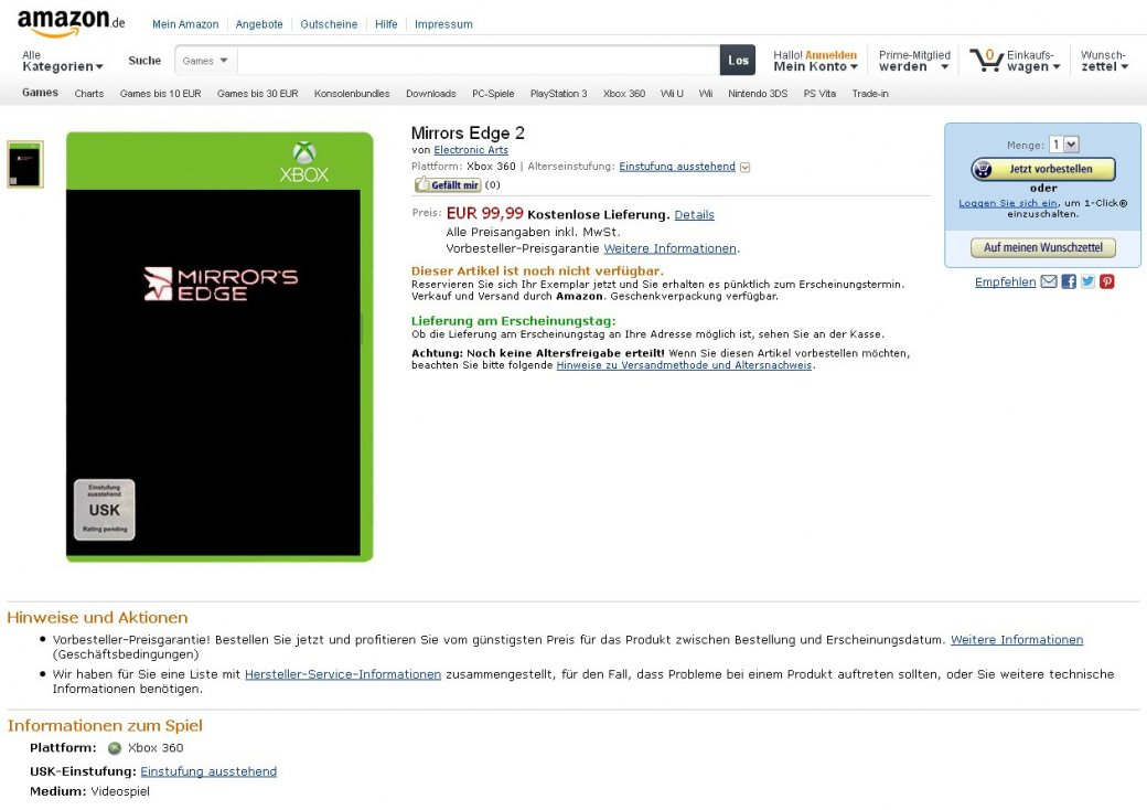 Mirror's Edge 2 появился в интернет-магазине Amazon - Изображение 1