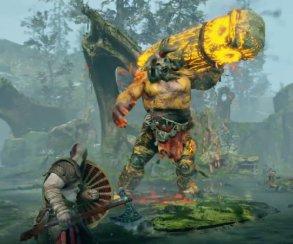 Сражение с желтым троллем и исследование локаций в новом геймплейном ролике God of War