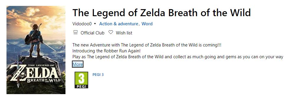В  Microsoft Store вышла The Legend of Zelda: Breath of the Wild. Но не от Nintendo