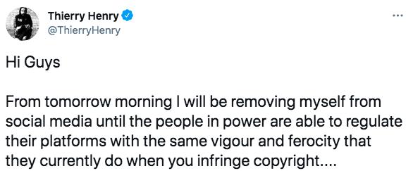 Анри уходит из соцсетей в знак протеста против расизма и оскорблений